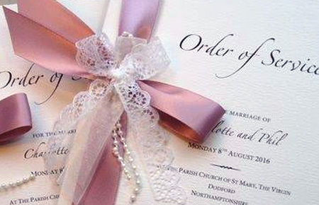Quills Wedding Stationery order of service