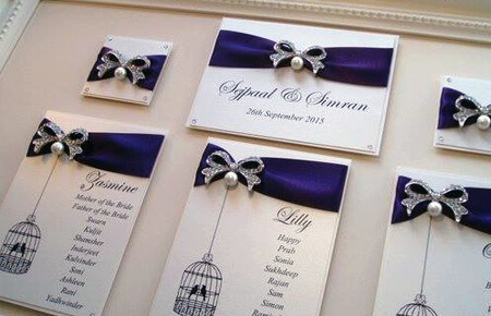 Quills Wedding Stationery table plan
