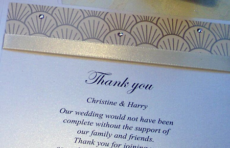 Quills Wedding Stationery thank you card